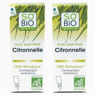 Huile essentielle Citronnelle bio - Lot de 2
