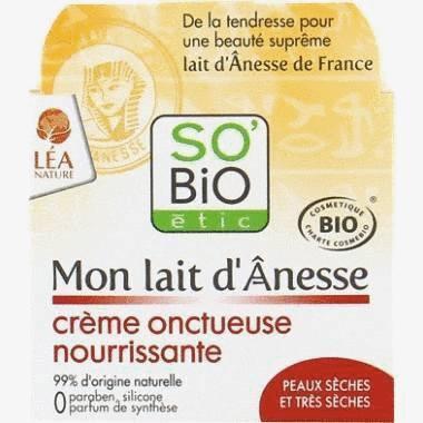 Crème onctueuse nourrissante au lait d'ânesse bio 50 ml -Soin peau sèche et sensible