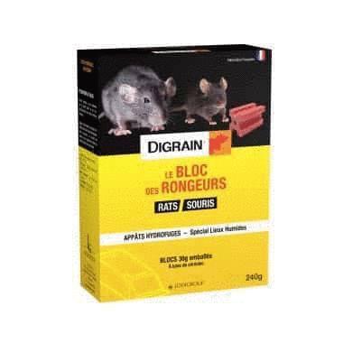 pâte appât rat souris Difénacoum -240g - Le bloc des rongeurs - Digrain