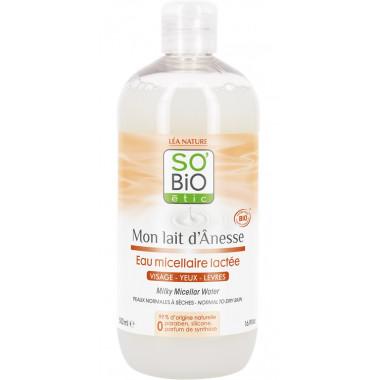 Eau micellaire lactée lait d'ânesse bio - 500ml-So'bio Etic