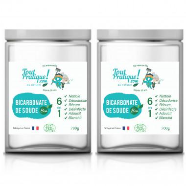 Bicarbonate de soude - 2 pots de 700g - Production Bio - Qualité supérieur - 100% naturel - Produit 100% Français