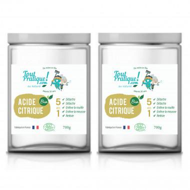 Acide citrique Toutpratique - 1.4 Kg en pots - Qualité supérieure - Bio -Naturel -Français