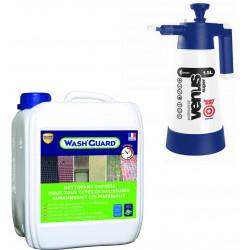 Wash'Guard -Nettoyant Exterieur - Désincrustant - 5L - jusqu'à 30m² + Pulvérisateur basse pression