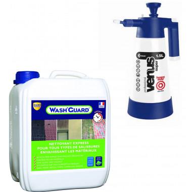 Wash'Guard - Nettoyant exterieur - Désincrustant - 5L - jusqu'à 30m² + Pulvérisateur basse pression