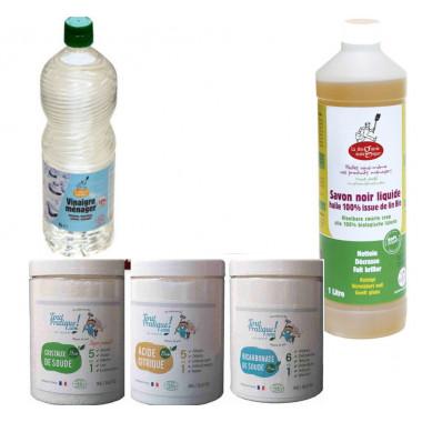 Les essentiels ménage au naturel: bicarbonate, cristaux de soude, vinaigre blanc concentré, savon noir huile de lin-Toutpratique
