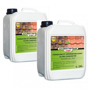 Anti-Dépôt-Vert-Guard 2en1- bidon-10L - traite-500 m² -Demousse-imperméabilise-anti-salissure
