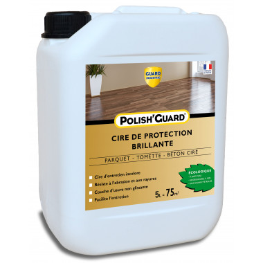 Guard-Industrie-Cire-Protection-Multi-Supports-Polish'Guard -Effet-Brillant-Parquet-Beton-Ciment-Plastique -5L-Traite-125m2