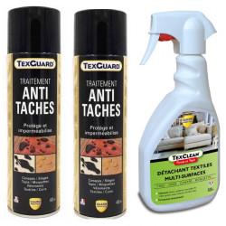 Nettoyant détachant textile Texclean + 2 Sprays antitache TexGuard