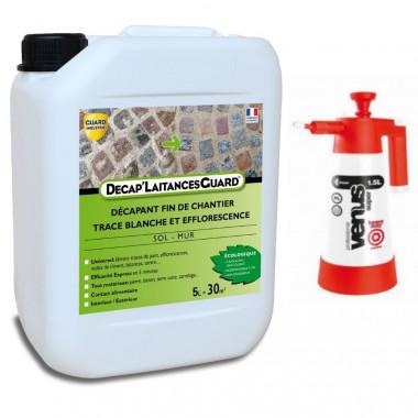 Anti-laitance de ciment, béton, carrelage - Décap'Laitances Guard Ecologique 5L- traite 30m² + Pulvérisateur basse presssion