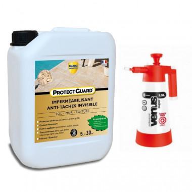 Imperméabilisant ProtectGuard 5L Antitache écologique pour Sols, Murs, Terrasses– Jusqu'à 35m² + Pulvérisateur basse pression