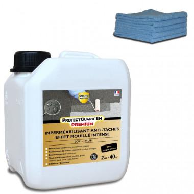 Imperméabilisant antitache Effet mouillé intense - ProtectGuard EM 2L - Jusqu'à 40m² sol et terrasse + Chiffons en microfibres