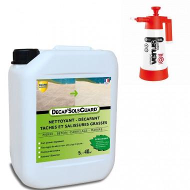 Décapant et nettoyant sols, murs, terrasses - Décap'Sols Guard® Ecologique 5L - traite 40m² + pulvérisateur basse pression