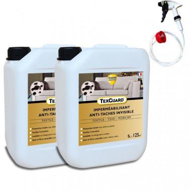 Protection anti taches tissus ou cuir - TEXGUARD 2x5L (+ pulvérisateur)