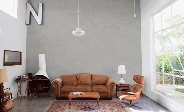 mur béton salon